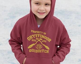 Harry Potter Gryffindor Quidditch Team Hogwarts Colege Hoodie Kids Sizes 7 to 13