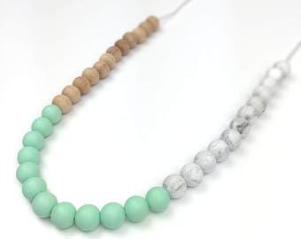 TALLULAH Silicone Teething Necklace - New Mum Present - Baby Shower Gift - Sensory - Nursing Necklace - Stylish - Modern Mint