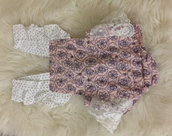 Pink romper with lace