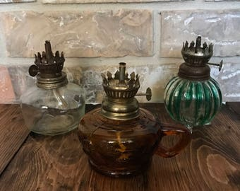 Vintage mini oil lamps