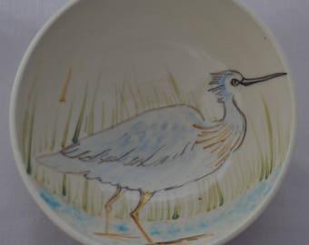 bowl, heron,  painted, ceramic, stoneware, australian, pottery. handmade,  studio, south coast, gift, dining,
