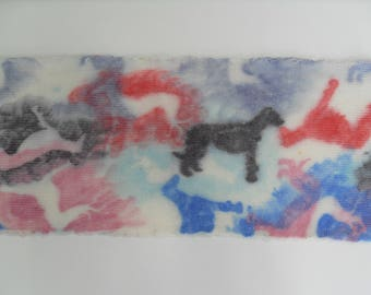 hand dyed sock blank stencil greyhound red pink blue black wool nylon superwash merino