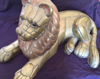 Brass and Copper Lion Sculpture