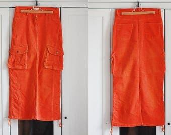 Sale ! Vintage Long Skirt Women Maxi Orange Corduroy Vintage  Retro Size Small