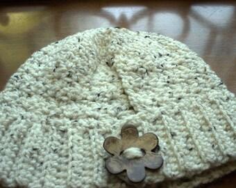 Beige Crocheted Ponytail Beanie