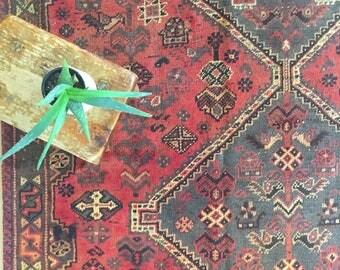 "Abbott // Vintage Antique Persian Heriz Area Rug 8'4"" x 5'2"", nomadic bohemian tribal rug"