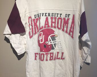 Vintage 1980s University of Oklahoma Football Jersey T Shirt