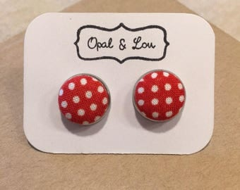Red Polka dot Fabric Button Earrings