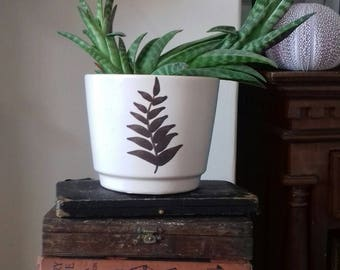 Vintage West German brown and white plant pot with fern plant leaf design