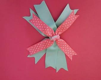 Pink and Teal Polka-dot Hair Clip