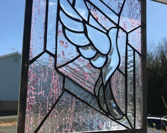 "Stained glass beveled dove 10.25""w X 13.75""h"