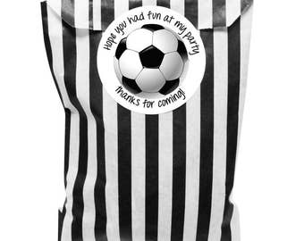 Black & white paper party bags x 24 - With 24 x 30mm football 'hope you had fun at my party' stickers
