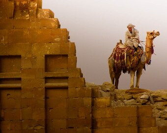 Nomad and Camel at the Saqqara Temple in Egypt