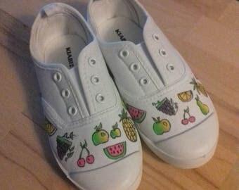 Pattern fruit canvas shoes
