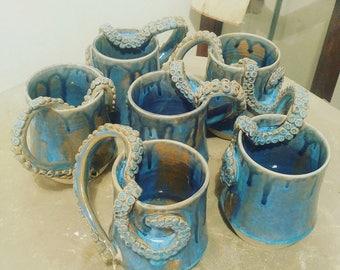 Handmade Ceramic Tentacle Handle Mug