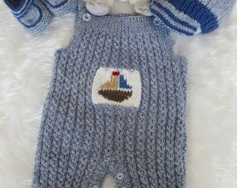 Hand knitted baby romper set