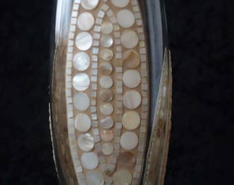 """Triple"" with mother of pearl mosaic glass vase"