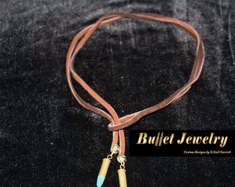 Bullet Jewelry: Bullet Lariat with Genuine Turquoise and Leather