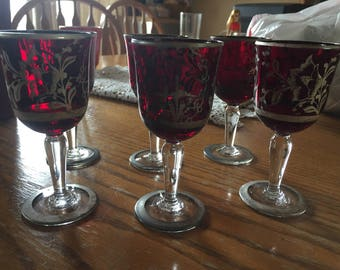 Antique ruby red bohemian goblets
