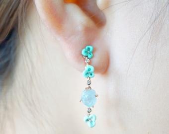 Aquamarine with Swarovski Zirconia earring-Rough stone earrings-Silver enamel earrings-blossom earrings