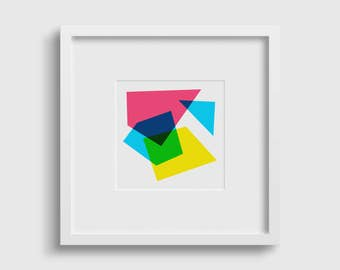 Colourful, modern abstract geometric art print | Art print, Contemporary art, Wall art, Home Decor