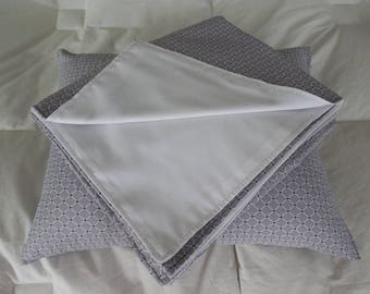 Beautiful Oversized Grey, White Diamond Pattern w Black Dots Baby Blanket & Matching Pillow.