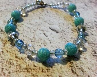Blue Sparkly Round Beaded Bracelet