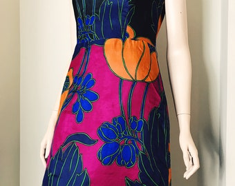 70s Hasso Graphic Floral Print Maxi Dress Size 10