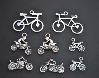 Bicycle Charm Collection, Set of 8 Silver Charms, Bike, Motorcycle, Dirt Bike, Stunt, Lot, Theme, Mixed, Assorted, Pendant, Vehicle, (CC8)