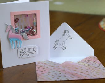 Unicorn Mini Shaker Card