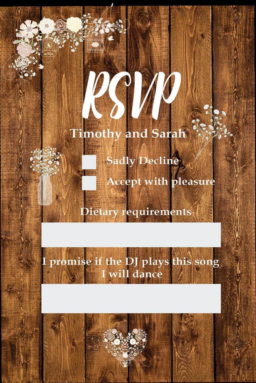 Printable Wedding Invitation   Rustic Country Baby\'s Breath Wood ...