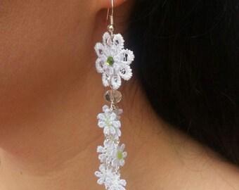 Earrings white flowers Wedding Earrings