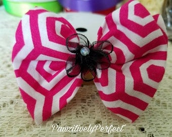 Pink and White Hair Bow with Black Flower and Alligator Clip