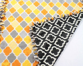 Marrakesh Moroccan Tile Gray and Yellow Fleece Blanket