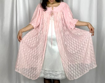 Vintage Valley of The Dolls Pink Lace Nightie Jacket