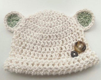 Crochet Newborn Bear Hat