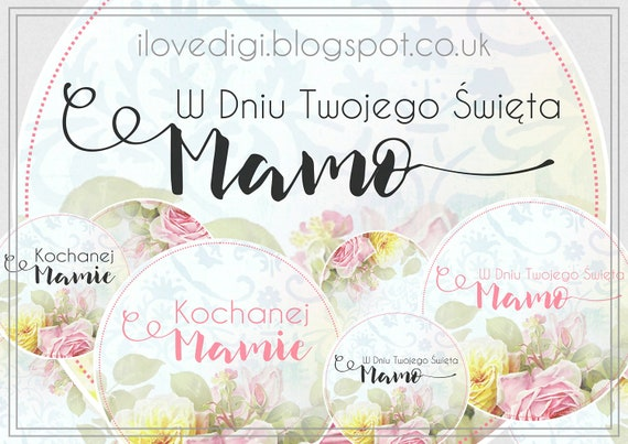 Mother's Day - digital collage sheet - digi stamp set - scrapbooking, cardmaking, tags, etc. - Polish version