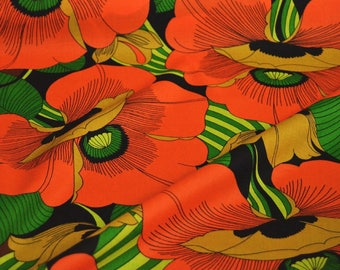 Cotton fabric by the metre, floral cotton, orange, brown
