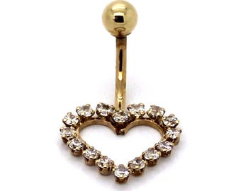 14K Yellow Gold Open Heart Cluster Belly Ring with CZ