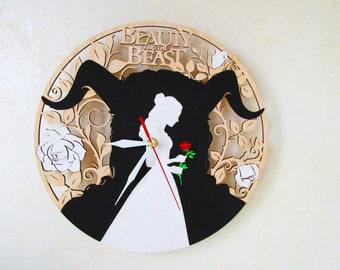 Wooden hand painted wall clock Beauty and the Beast