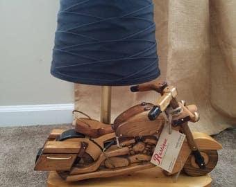 Handmade wood motorcycle lamp, artist signed