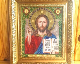 Jesus Christ bead embroidered orthodox icon Religious icon Christian gift Beaded icon Christian art