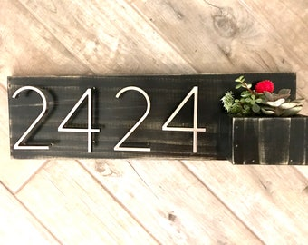 Mid Century Modern House Numbers w/ Planter