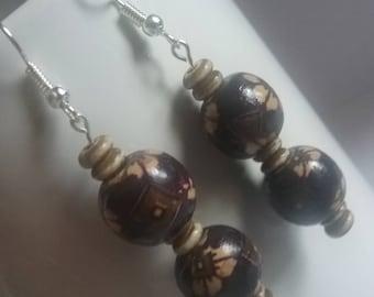 Dark wood painted earrings