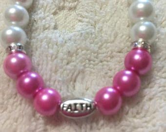 Pink And White FAITH necklace