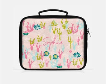 Cactus Lunch Box, Pink Lunch Box, Personalized Lunch Box, Cute Lunch Box, Lunch Box for Women, Reusable Lunch Bags, Insulated Lunch Bag,
