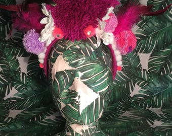 Large Pom Pom, Feather and Flower Headpiece