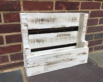 Reclaimed Pallet Shelf with Distressed White Finish