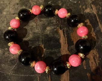 Black And Pink Stretch Bracelet With Gold Accents