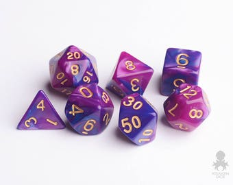 7 die polyhedral dice set in velvet dice bag | dungeons and dragons Pathfinder dice |  DnD Dice Set - Royal Passion (KD0001)